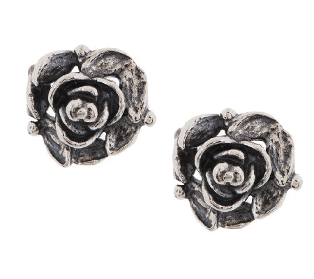 or paz sterling textured oxidized stud earrings qvc