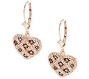 Argyle Diamond 5/8cttw Leverback Heart Earrings, Sterling - J291305