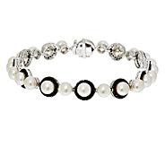 Honora Cultured Pearl 5.5mm & Black Spinel Small Sterling Line Bracelet - J291705