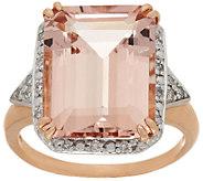Emerald Cut Morganite & Diamond Ring 14K Gold 9.00 cts - J292305