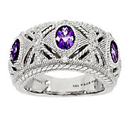 Judith Ripka Sterling Silver Bezel Set Amethyst & Diamonique Ring - J293705
