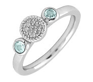 Simply Stacks Sterling & Double Round Aquamarine Diamond Ring - J299305