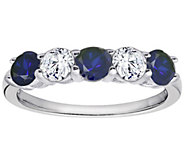 Diamonique & Simulated Sapphire 5 Stone Ring, Platinum Clad - J302405
