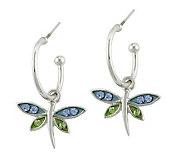 Mixers Sterling Crystal Dragonfly Charm Hoop Earrings - J304705