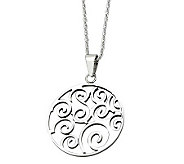 Stainless Steel Cut-out Fancy Swirl Pendant w/21-1/4L Chain - J306805