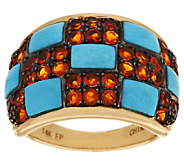 Sleeping Beauty Turquoise and Fire Opal Domed Ring, 14K Gold - J317705