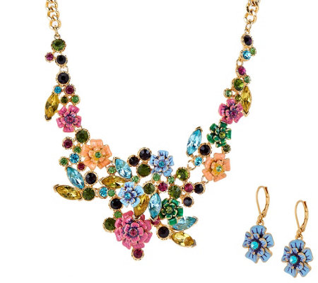 Joan rivers language of flowers necklace earrings set for Joan rivers jewelry necklaces