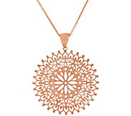 Bronze Round Cut-Out Crystal Pendant w/18 Chain by Bronzo Italia - J321505