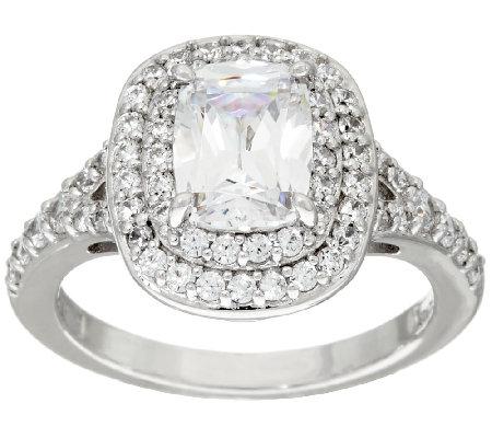 diamonique halo emerald cut ring platinum clad