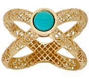 Adi Paz Turquoise Openwork Swirl Design X-Ring, 14K - J323405