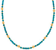 Veronese 18K Clad 24 Turquoise Bead Station Necklace - J323805