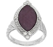 As Is Judith Ripka Sterling 5.25ct Ruby & Diamonique Marquise Ring - J330005