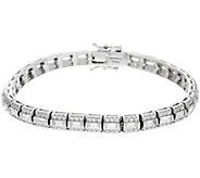 Diamonique Baguette and Round Tennis Bracelet, Platinum Clad - J330105