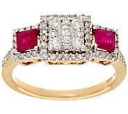 As Is Princess Cluster Diamond & Ruby 14K, 1/2 cttw Affinity - J332505