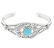 As Is American West Sterling Turquoise Leaf & Flower Cuff - J332705