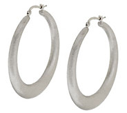 As Is Vicenza Silver Sterling 1-3/4 Satin Finish Round Hoop Earrings - J334805