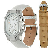 Philip Stein Womens Silver Leather Strap Signature Watch - J335005