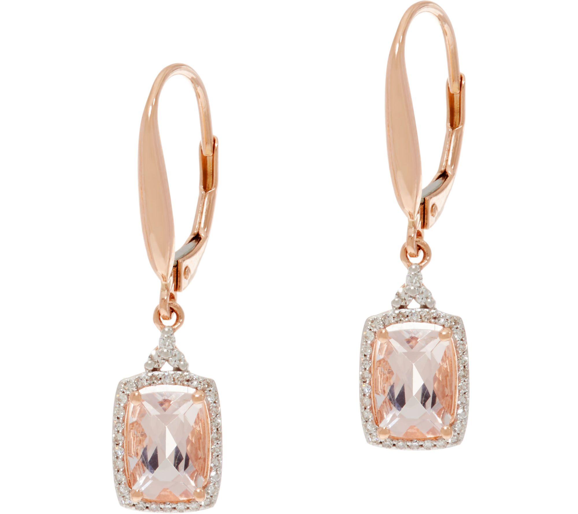 Elongated Cushion Cut Morganite & Diamond Drop Earrings, 14k  Page 1 —  Qvc
