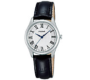 Pulsar Womens Stainless Steel Black Leather Strap Watch - J337605