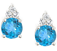 Premier 1.60cttw Round Blue Topaz & Diamond Earrings, 14K - J338205