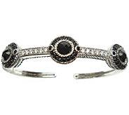 Judith Ripka Sterling Black Spinel & Diamonique Cuff - J338305