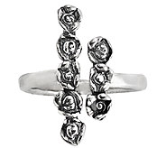 Sterling Silver Rose Design Cuff Ring by Or Paz - J338605