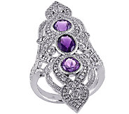 Diamond & 1.60cttw Amethyst Elongated Ring, Sterling - J340305