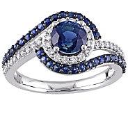 1.40 cttw Sapphire & 1/5 cttw Diamond Ring, 14KWhite Gold - J342505