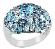 Sterling Blue Topaz Pave Domed Ring - J342705