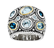 Sterling & 14K Gold Blue Topaz Ornate Ring - J343205