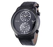 V19.69 Italia Mens Dual-Time Black Watch with Black Strap - J344505