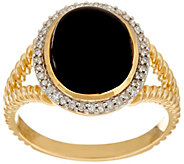 Black Onyx & Diamond Rope Design Ring, 14K Gold - J346205