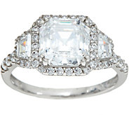 Diamonique Asscher Halo Ring, Sterling - J347105