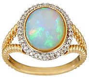 As Is Ethiopian Opal & Diamond Rope Design Ring, 14K Gold - J349805