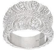 As Is Judith Ripka Sterling Diamonique Wrapped Pave Ring - J352105