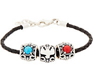 American West Braided Leather Bracelet with 3 Sterling & Gemstone Charms - J352305