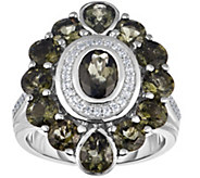 Sterling 3.75 cttw Moldavite & White Zircon Ring - J375205