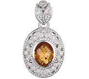 Judith Ripka Sterling Madeira Citrine and Diamonique Enhancer - J375605