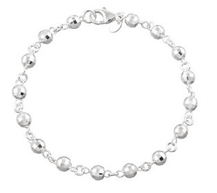 "UltraFine Silver 10"" Disco Bead Station Anklet,9.2g"