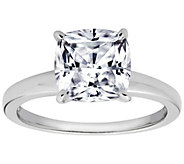 Diamonique Cushion 100-Facet Solitaire Ring, Platinum Clad - J112406