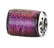 Prerogatives Sterling Purple Dichroic Glass Barrel Bead - J113406