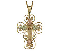 Black Hills Mother-of-Pearl Inlay Cross Pendant , 10K/12K Gold - J113706