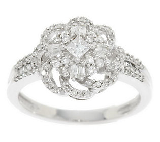 Product image of Princess, Round & Baguette Diamond Ring, 14K, 1/2 cttw, by Affinity