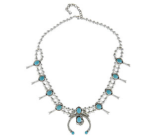 American West Sleeping Beauty Turquoise Squash Blossom Necklace