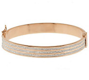 Italian Silver Sterling Large Triple Row Pave Glitter Hinged Bangle - J285106