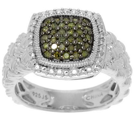 Pave' Color Cushion Diamond Ring Sterling, 1/4 cttw byAffinity