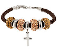 Stainless Steel Leather Bracelet with Cross and Crystal Beads - J287806