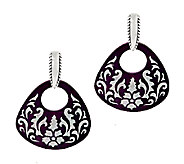 American West Purple Mother-of-Pearl Etched Sterling Earrings - J289006