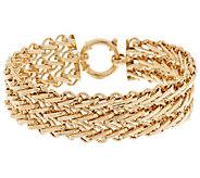 14K Gold 6-3/4 Polished & Diamond Cut Triple Woven Bracelet, 12.2g - J289306