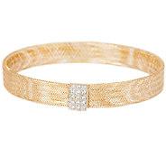 VicenzaGold Crystal Station Mesh Stretch Bracelet 14K Gold - J289506